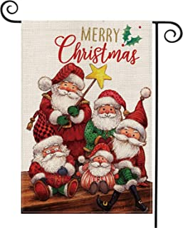 AVOIN Santa and Friends Garden Flag Vertical Double Sized, Merry Christmas Holiday Burlap Yard Outdoor Decoration 12.5 x 18 Inch