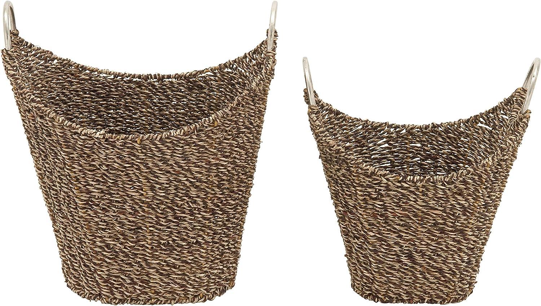 Benzara 49078 Excellent Sea Grass Metal Basket, Set of 2