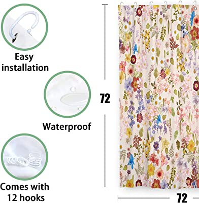 Accnicc Blooming Floral Shower Curtain Set, Colorful Flowers Leaves Herb Bath Curtains Bathroom Decor (Pink, 72'' × 72'')