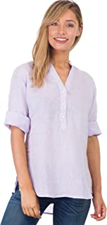 Women's 100% Linen Casual Button-up Popover Shirt Effortless Airy Basic
