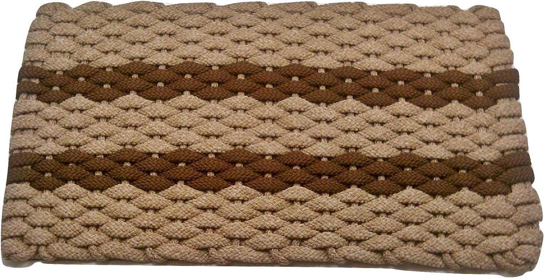 Rockport Rope Doormats 2038311 Indoor and Outdoor Doormat, 20  x 38 , Tan with Brown Stripes
