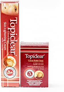 TopiClear Cocoa Butter Skin Lightening Cream & Cocoa Butter Soap DUO Bundle + FREE Tube Squeezer