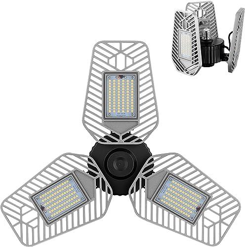 LZHOME LED Garage Lights, Deformable LED Garage Ceiling Lights 9000 Lumens, 82W CRI 80 Led Shop Lights for Garage, Ad...