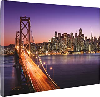 Niwo Art (TM - San Francisco Cityscape Picture On Canvas - Giclee Wall Art for Home Decor, Gallery Wrapped, Stretched and Framed Ready to Hang (30