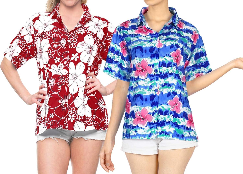 LA LEELA Women's Hawaiian Blouse Sleeve Clearance SALE! Limited time! Outstanding Down Button Shirt Short