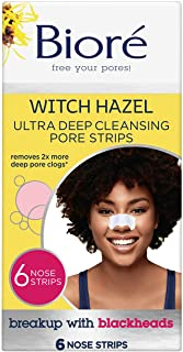 Best Bioré Witch Hazel Ultra Cleansing Pore Strips, 6 Nose Strips, Clears Pores up to 2x More than Original Pore Strips, features C-Bond Technology, Oil-Free, Non-Comedogenic Use (Packaging May Vary) Review
