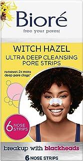 Bioré Witch Hazel Ultra Cleansing Pore Strips, 6 Nose Strips, Clears Pores up to 2x More than Original Pore Strips, featur...