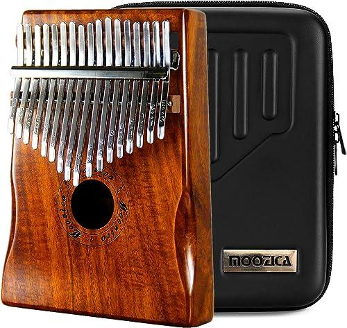Moozica 17 touches Kalimba, Professionnel De Haute Qualité Doigt Pouce Piano Instrument de Musique Cadeau (Koa Tone B...