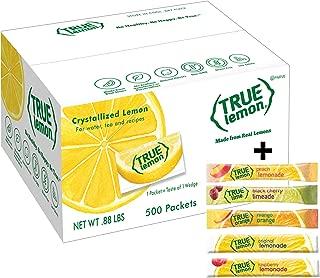 True Lemon Bulk Packets 500ct; plus 5 sticks of variety flavors lemonade