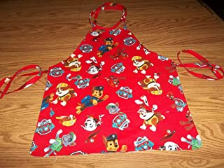 Childrens Paw Patrol Reversible Apron Handmade Medium Boy or Girls Red Apron