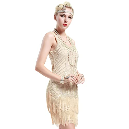 8075c7a7436d BABEYOND Women's Flapper Dresses 1920s V Neck Beaded Fringed Great Gatsby  Dress