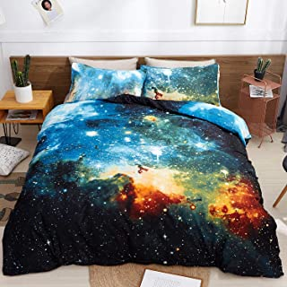 LAMEJOR Duvet Cover Set Queen Size 3D Galaxy Outer Space Luxury Soft Bedding Set Comforter Cover(1 Duvet Cover+2 Pillowcases) Blue