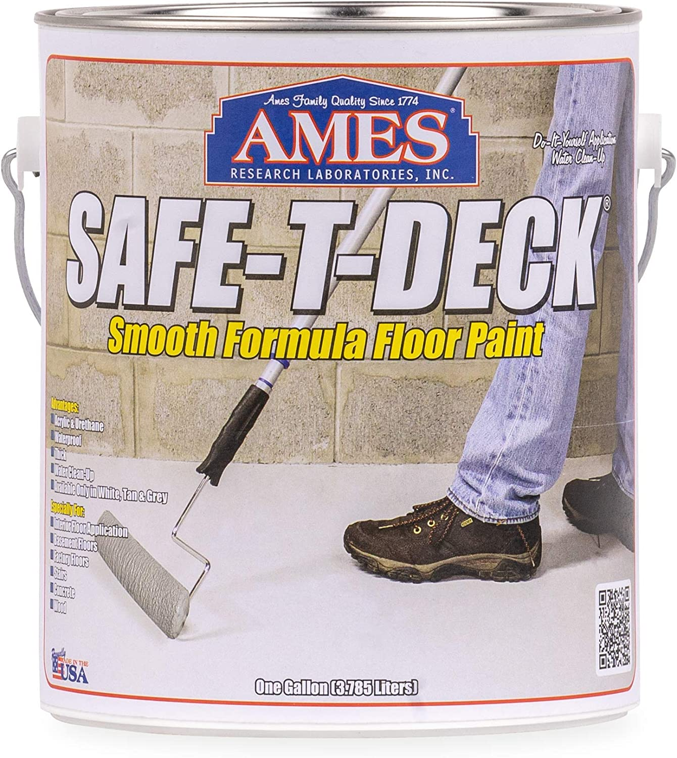 AMES NEW before selling ☆ SDUP1GYXHRD 1 Gallon Grey 4 Safe-T-Deck Smooth Factory outlet Piece