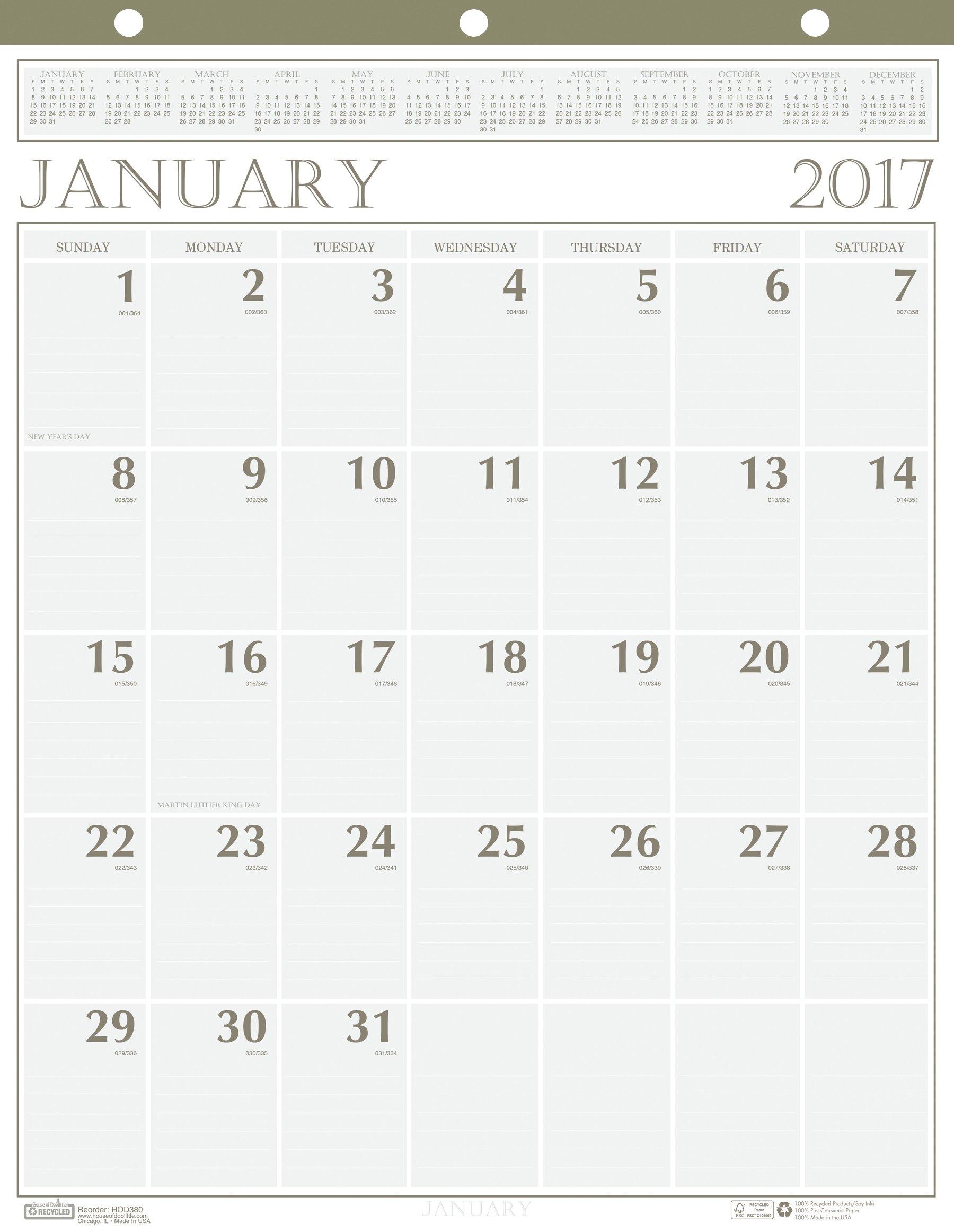 Casa de Doolittle 2017 mensual calendario de pared, Classic, 20 x 26