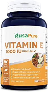 Vitamin E 1000 IU 200 Capsules (Non-Oily, Non-GMO & Gluten Free) - Mixed D-Alpha Tocopherol - Antioxidant for Healthy Skin, Eyes & Hair - Powder Caps