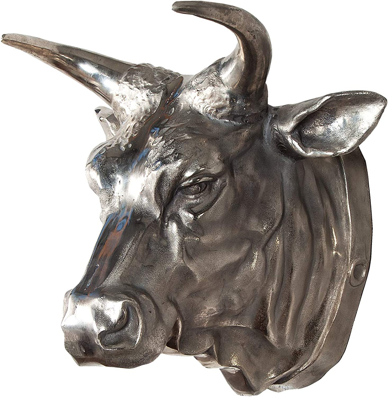 Riesiger Stierkopf TORERO Deko Schdel Aluminium silber Skull vernickelt 65cm