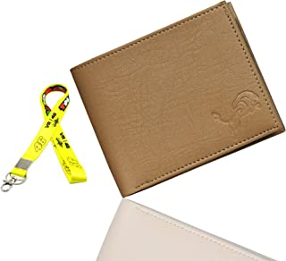 FRIENDS Men's Beige Artificial Leather Slim Wallet and The Doctor 46 ID Tag and Keychain