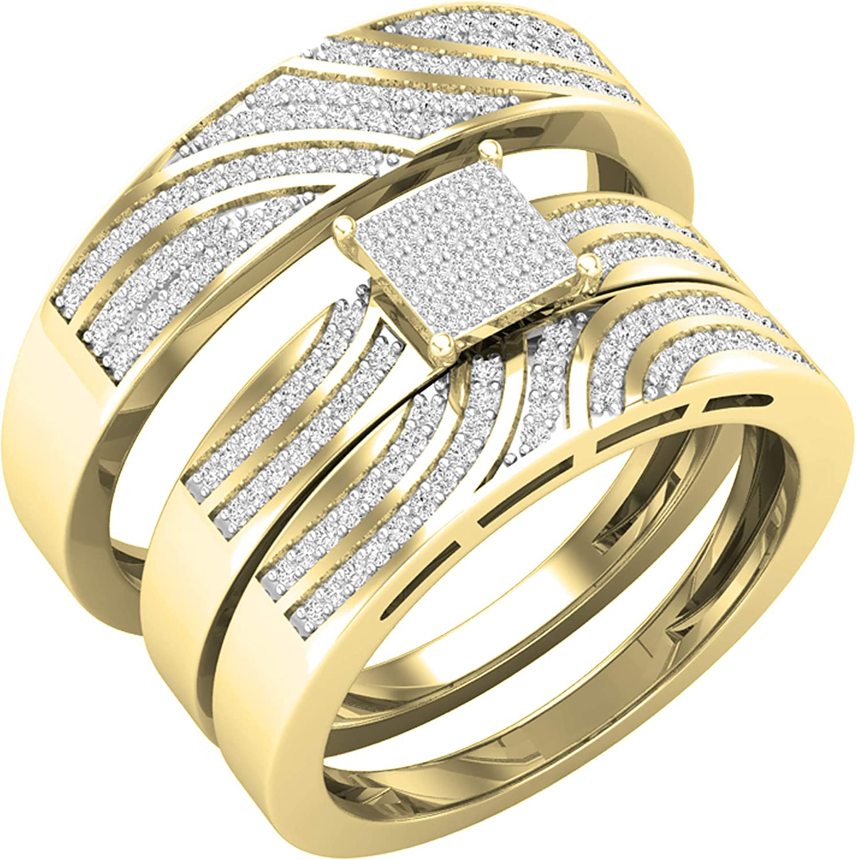 Dazzlingrock Collection 0.42 Carat (ctw) Round White Diamond Men & Women's Engagement Ring Trio Bridal Set, 10K Yellow Gold
