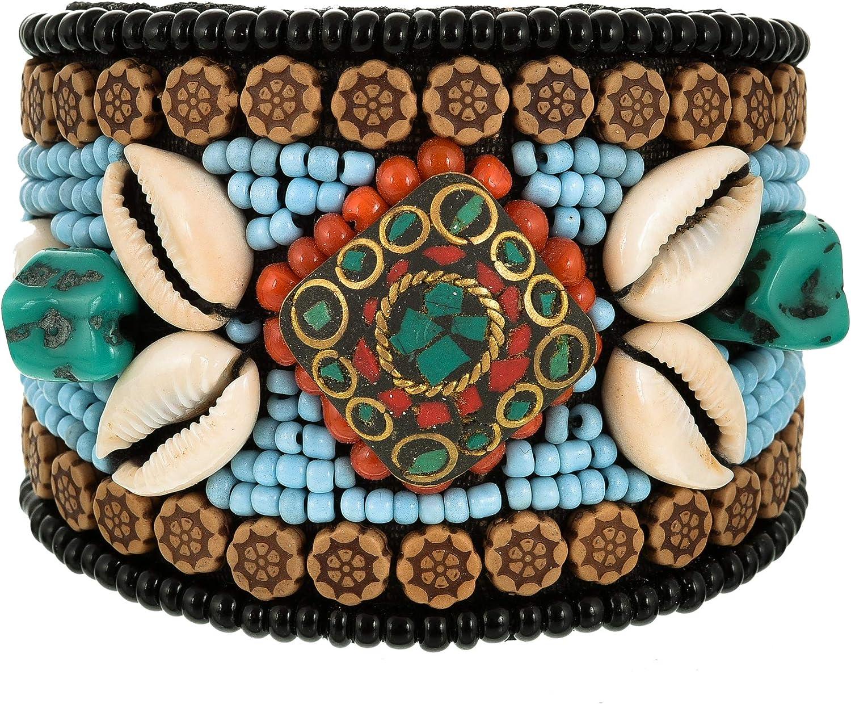 Tibetan Multi Colored Beaded Cuff Bracelet, Boho Bracelet, Nepal Cuff Bracelet