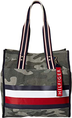 Tommy Hilfiger Carmel North/South Camo Canvas Stripe Tote