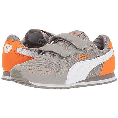 Puma Kids Cabana Racer Mesh V (Little Kid) (Rock Ridge/PUMA White/Vibrant Orange) Boys Shoes