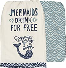 Primitives by Kathy Mermaids Drink for Kitchen Towels Set of 2, Dish Towel with Mermaid Holding a Cocktail and a Coordinating Fish Scale Patterned Towel, 28