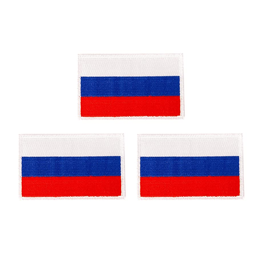 Russia Flag Patch Bulk 3-Pack 3.5Wx2.25H State Iron On Sew Embroidered Tactical Morale Back Pack Hat Bags Russian (3-Pack Patch)