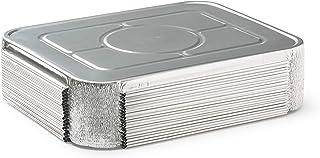 """(30 Pack) Premium Lids for Lasagna Pans 14"""" x 10"""" x 3"""" Heavy Duty l 26 Gauge l Disposable Aluminum Foil for Roasting, Baki..."""