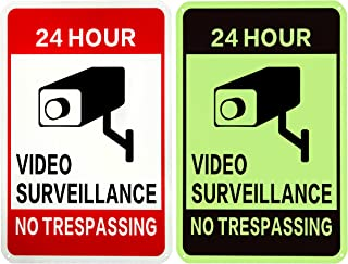 WISLIFE Video Surveillance Sign - ONE Piece,  40 Mil Rust-free Aluminum Sign,  Home Business 24 Hours Security,  No Trespassing Security Sign 10 X 14 (ONLY 1,  Day & Night as Picture)