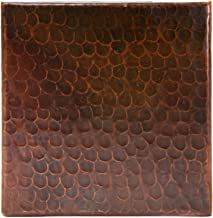 Premier Copper Products T6DBH_PKG4 6-Inch by 6-Inch Hammered Copper Tile - Quantity 4, Oil Rubbed Bronze