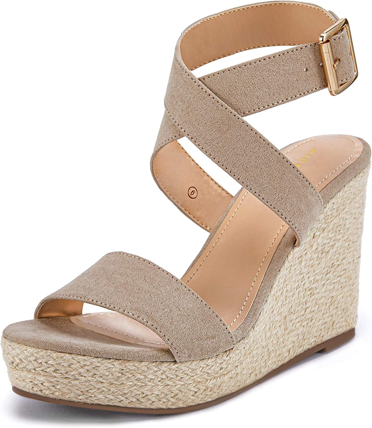 Coutgo Womens Wedge Espadrille Sandals Cross Phoenix Mall Buck Open safety Ankle Toe