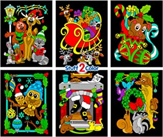 Christmas Animals Fuzzy Coloring Poster 6 Pack (Great for Holiday Activities, Projects & Family Get Togethers)