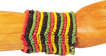 Beaded Cuff Stretch Rasta Multi Color Stripe Cleopatra Glass Handmade Bracelet Bali Bay Trading Co