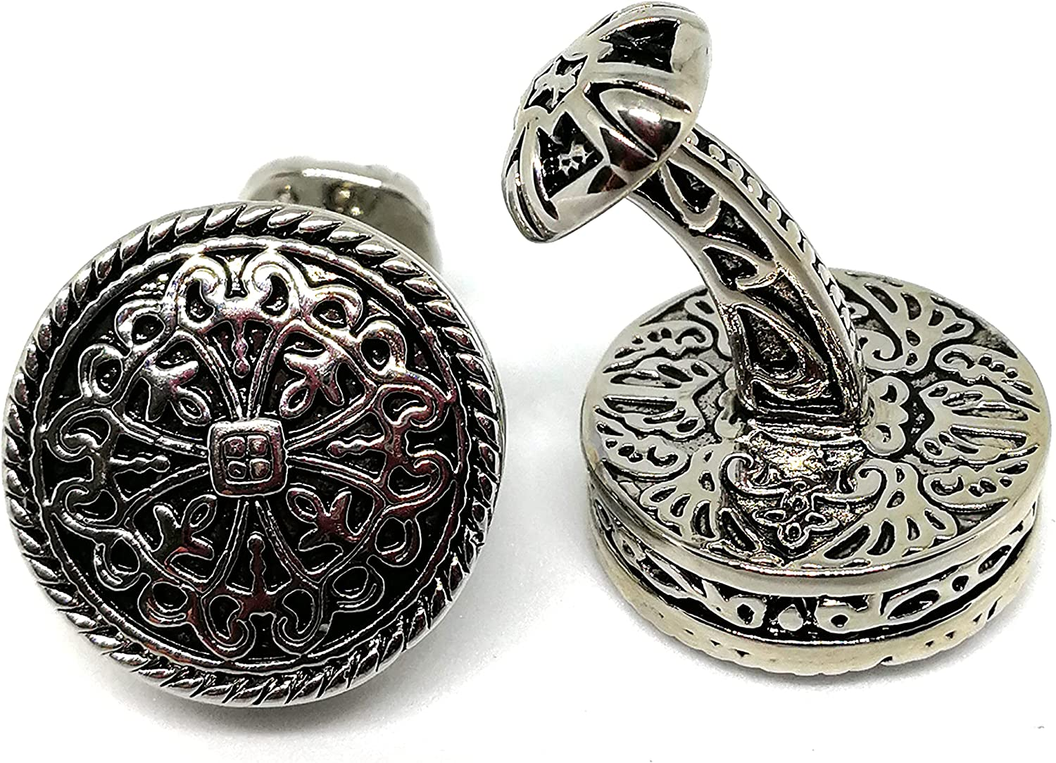 Cufflinks for Men Vintage Style Irish Celtic Knot Ball Return Fixed Backing Cuff links Mens French Shirts Accessory Wedding Best Man Tuxedo Studs Father's day Groomsmen Gifts Box