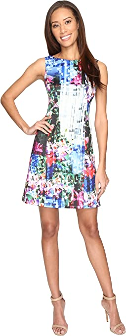 Printed Geo Corsage Seamed A-Line Dress