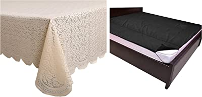 """Kuber Industries Zig Zag Design Cotton 6 Seater Dining Table Cover - Cream (CTKTC01253) & PVC Waterproof King Size Mattress Protector 78""""X72"""" (Black), CTKTC013918 Combo"""