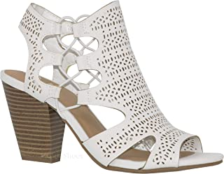 235fb68c2ed MVE Shoes Open Toe Perforated Lace up Elastic Side Stacked Chunky Heel  Sandal