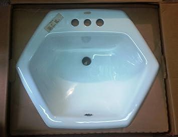 Kohler K 2930 0 White Hexagon Top Mount Lavatory Sink With 3 Holes 19 X 20 Amazon Co Uk Diy Tools