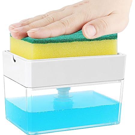 Albayrak - Dispensador de jabón para cocina + soporte de esponja – Patente de diseño estadounidense – Dispensador de jabón de platos de alta calidad – Dispensador de fregadero – Recambio instantáneo, duradero, resistente al óxido