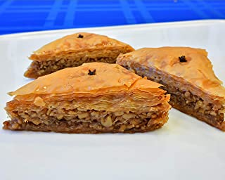 Walnut Baklava Hand Made Traditional Greek Pastry, 4 pieces (about 8 oz)