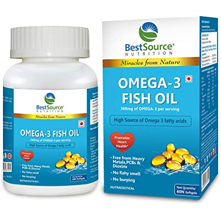 BestSource Nutrition's Omega-3 Fish Oil (Natural EPA & DHA), Free from Heavy Metals, PCBs, & Dioxins, No fishy smell, No burping, 60 softgelsof 600mg each