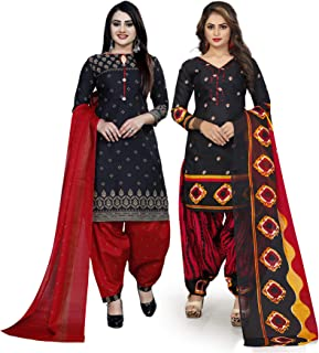 Rajnandini Women's Black And Black Cotton Printed Unstitched Salwar Suit Material (Combo Of 2) (Free Size)