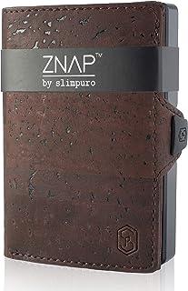ZNAP Fermasoldi - Protezione RFID - Sughero Marrone Vino - Fino a 12 carte - Portafoglio Uomo Slim, Portacarte Uomo, Porta...