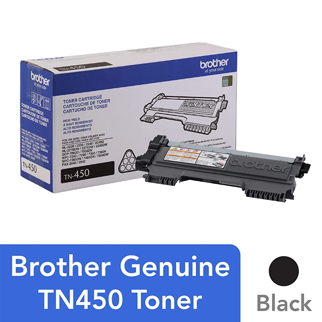 Brother Genuine High Yield Toner Cartridge, TN450, Replacement Black Toner, Page Yield Up To 2,600 Pages set97269725