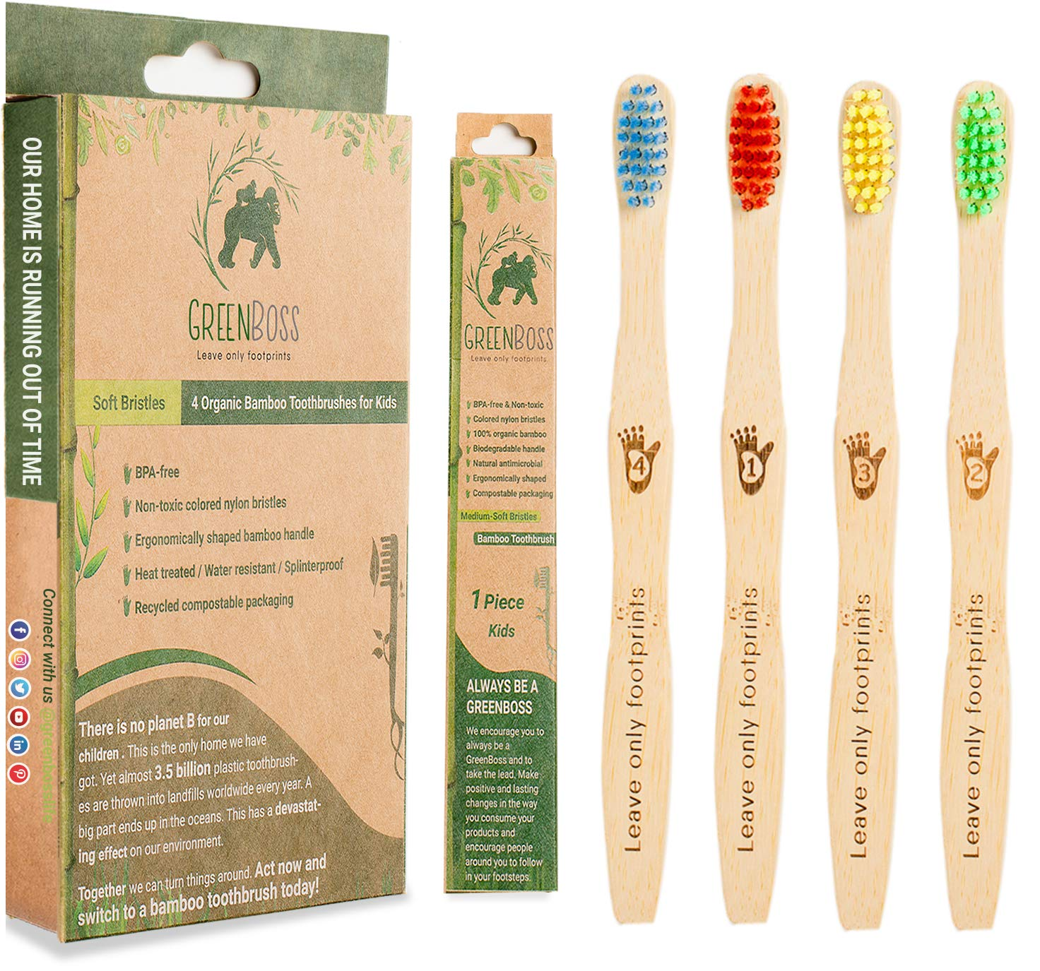 GreenBoss Bamboo Toothbrush with Charcoal Infused Bristles (Medium-Soft)   Pack of 4 Eco-Friendly, 100% Organic and Biodegradable Toothbrushes for Adults (Kids 4 Pack)