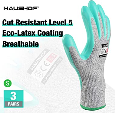 HAUSHOF 3 Pairs Latex Coated Working Gloves, Level 5 Cut Resistant Garden Gloves for Gardening, Restoration Work, Small