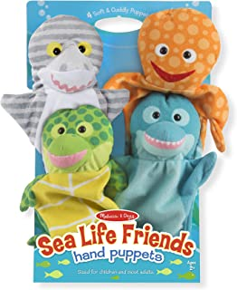 """Melissa & Doug Sea Life Friends Hand Puppets, Puppet Sets, Shark, Dolphin, Sea Turtle, and Octopus, Soft Plush Material, Set of 4, 14"""" H x 8.5"""" W x 2"""" L"""
