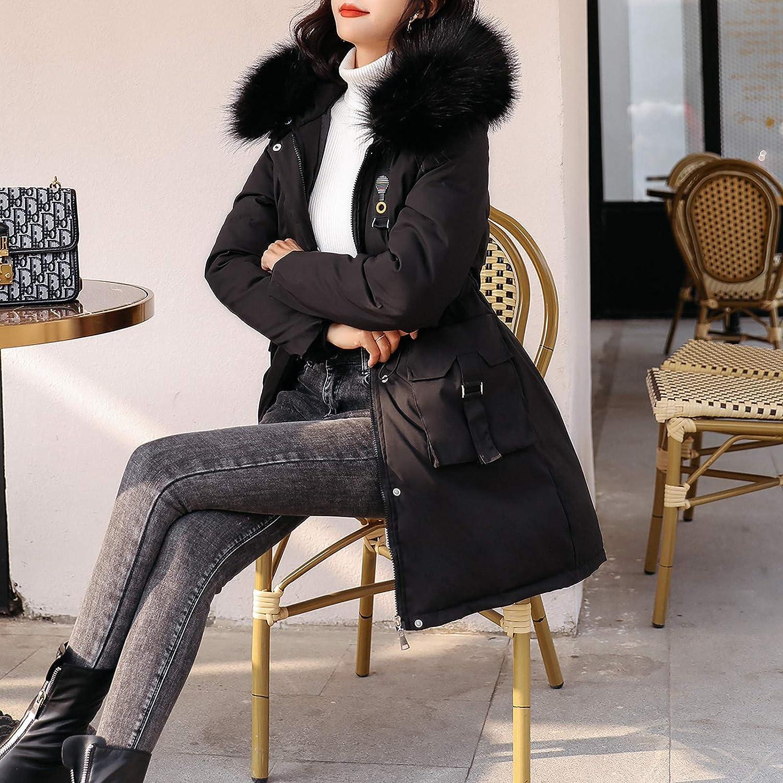Vimoli Manteaux Femme Hiver Chaud Veste à Capuche Tops Zippé Manche Longue Poches Outwear Casual Chic A Capuche Parka avec Poches C Noir