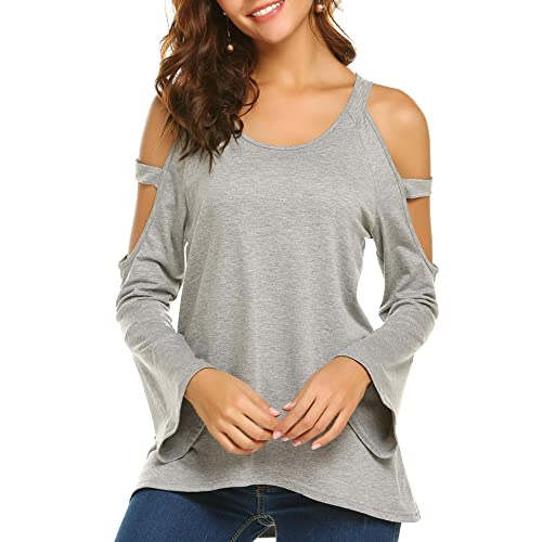5ad59d7dd6e Meaneor Womens Cut Out Sleeve Tops Round Neck Long Bell Sleeve Loose Shirts  Blouse
