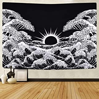 Claswcalor Great Wave Kanagawa Tapestry, Wave Tapestries with Sunrise Tapestry Black and White Waves Tapestry Wall Hanging for Room